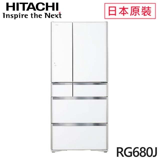 HITACHI 日立  676L一級能效日本原裝變頻六門琉璃冰箱(RG680J-XW) 琉璃白