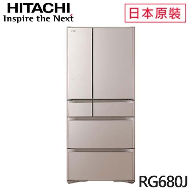 HITACHI 日立  676L一級能效日本原裝變頻六門琉璃冰箱(RG680J-XN) 琉璃金