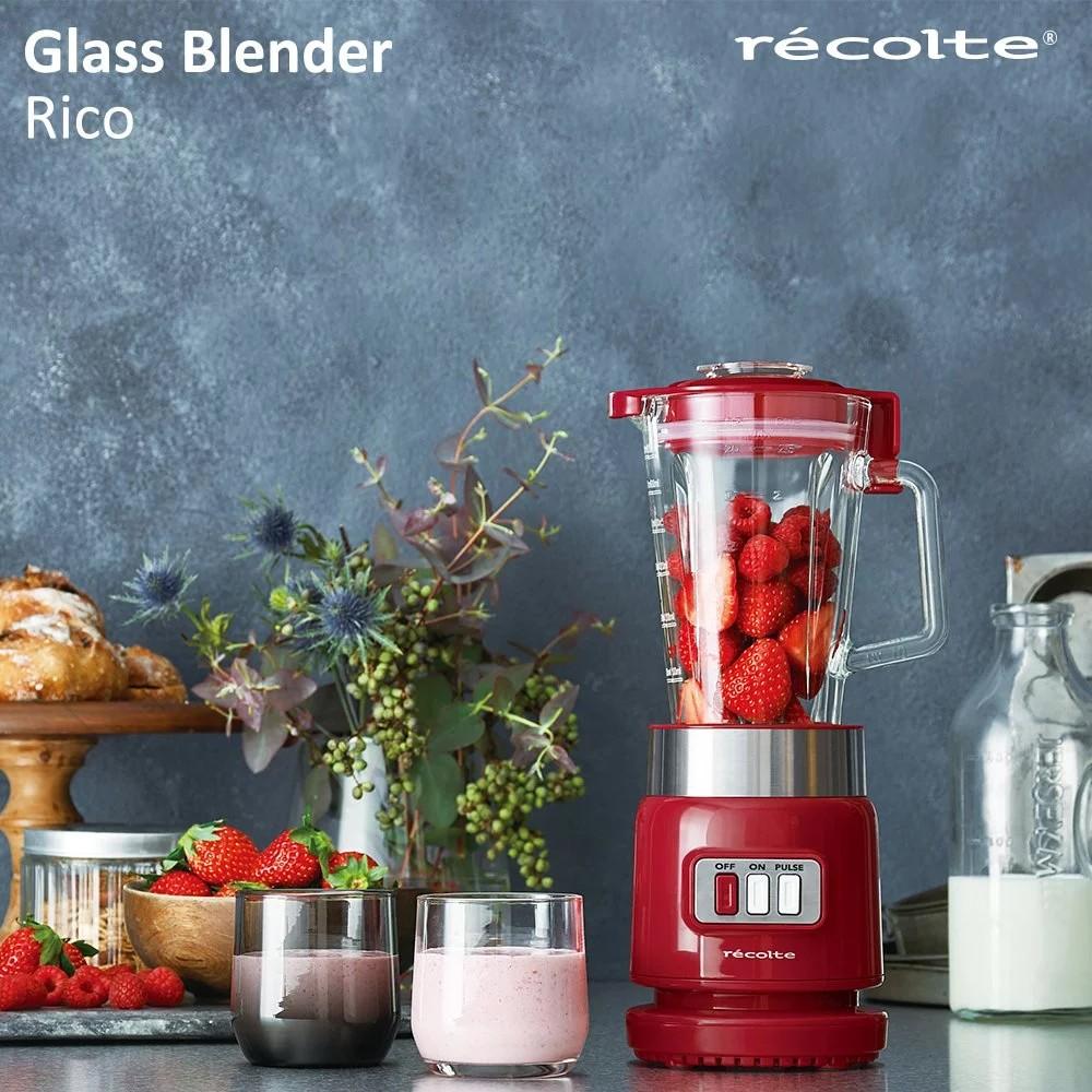 recolte日本麗克特 Glass Blender Rico 耐熱果汁機 (經典紅)