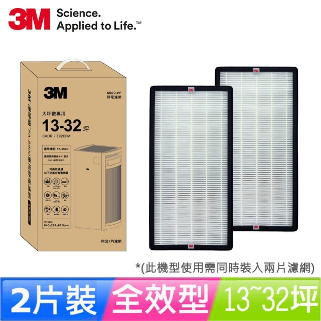 3M 淨呼吸FA-S500/32坪清淨機靜電專用濾網2片組(濾網型號:S500-PF)