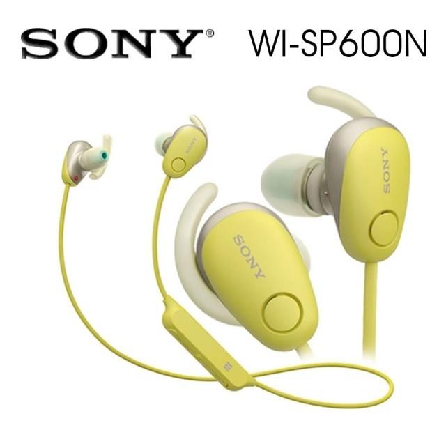 SONY索尼  無線藍牙降噪運動防水繞頸式耳機 續航力6HR(WI-SP600N)黃色