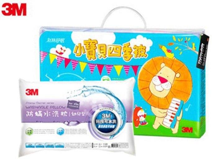 3M 新絲舒眠小寶貝四季被+新一代可水洗防蹣幼兒枕(兩件超值組)