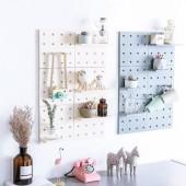 洞洞板 牆面裝飾收納架(6片組) + 3M 多用途置物盒